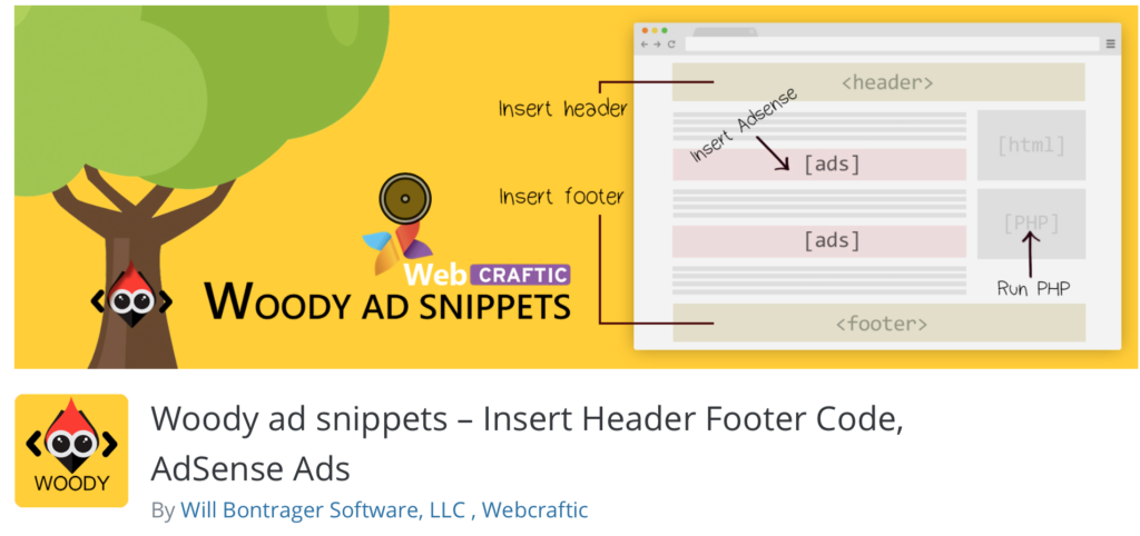 Woody ad snippets – Insert Header Footer Code, AdSense Ads